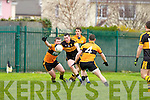 Stacks Ciaran O'Connell and John Dennis tries to stop Croke's Alan O'Sullivan during their Div 1 County League game in Connolly Park on Sunday