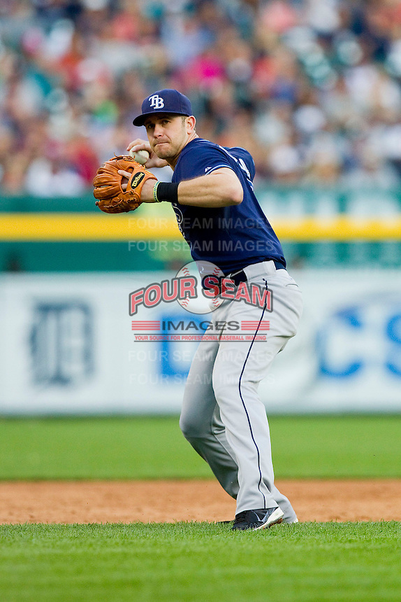 Tampa Bay Rays third baseman Evan Longoria (3) throws the ball to home plate against the Detroit Tigers at Comerica Park on June 4, 2013 in Detroit, Michigan.  The Tigers defeated the Rays 10-1.  Brian Westerholt/Four Seam Images