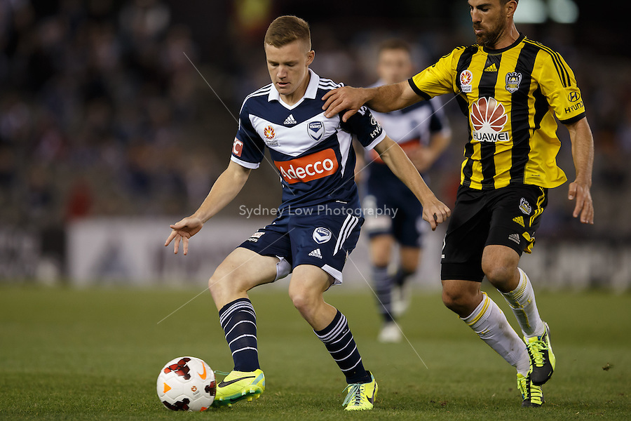 Scott GALLOWAY of the Victory kicks the ball in the round four match between Melbourne Victory and Wellington Phoenix in the Australian Hyundai A-League 2013-24 season at Etihad Stadium, Melbourne, Australia.<br /> This image is not for sale. Please visit zumapress.com for image licensing.