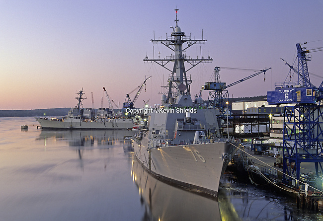 US Navy ships at Bath Iron Works, Bath, Maine, USA, one of the shipyards in the country that builds ships for the military.