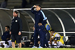 06 December 2014: UNC head coach Carlos Somoano reacts after one of his players was ejected with a red card. The University of California Los Angeles Bruins hosted the University of North Carolina Tar Heels at Drake Stadium in Los Angeles, California in a 2014 NCAA Division I Men's Soccer Tournament Quarterfinal round match. The game ended in a 3-3 tie after two overtimes. UCLA advanced to the next round by winning the penalty kick shootout 7-6.