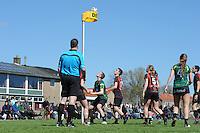 KORFBAL: REDUZUM: Sportpark Reduzum, 28-04-2013, Veld Hoofdklasse A, KV Mid Fryslân-LDODK AH Gorredijk, Eindstand 13-19, André Zwart (#15 | LDODK), Sjoerd Pool (#17 | MF), Nynke Sinnema (#5 | MF), Jildou Slagmann (#4 | LDODK), ©foto Martin de Jong