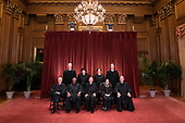 The Supreme Court Justices pose for their official group portrait in the Supreme Court on November 30, 2018 in Washington, D.C. Seated from left: Associate Justice Stephen Breyer, Associate Justice Clarence Thomas, Chief Justice John G. Roberts, Associate Justice Ruth Bader Ginsburg and Associate Justice Samuel Alito, Jr. Standing behind from left: Associate Justice Neil Gorsuch, Associate Justice Sonia Sotomayor, Associate Justice Elena Kagan and Associate Justice Brett M. Kavanaugh.<br /> Credit: Kevin Dietsch / Pool via CNP