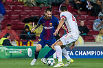 Lionel Andres Messi (l) of FC Barcelona is tackled by Dimitris Nikolaou of Olympiacos FC during the UEFA Champions League 2017-18 match between FC Barcelona and Olympiacos FC at Camp Nou on 18 October 2017 in Barcelona, Spain. Photo by Vicens Gimenez / Power Sport Images