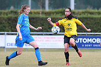 20190907 – PITTEM , BELGIUM : Egem's Eva Verhulst (r) pictured in a fight for the ball with Saint-Ghislain's  Eva Dutoit (left) during a women soccer game between Dames DVK Egem  and Union Saint-Ghislain Tertre-Hautrage  on the second round matchday of the Belgian Women's Cup – Beker van Belgie -  season 2019-2020 , saturday 7th September  2019  in Pittem  , Belgium  .  PHOTO SPORTPIX.BE | DAVID CATRY