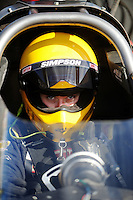 Nov 11, 2010; Pomona, CA, USA; NHRA top alcohol dragster driver Ashley Bart during qualifying for the Auto Club Finals at Auto Club Raceway at Pomona. Mandatory Credit: Mark J. Rebilas-