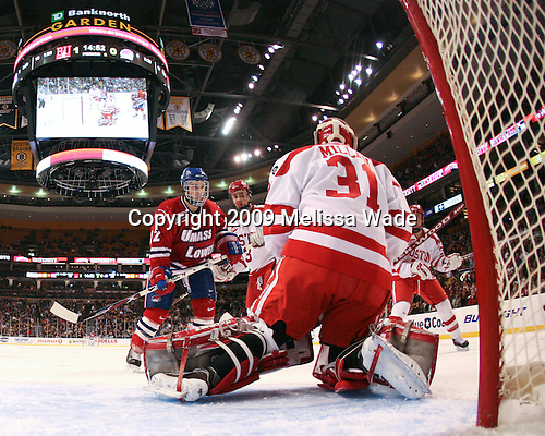 Paul Worthington (UMass-Lowell - 22), Kevin Shattenkirk (BU - 3), Colin Wilson (BU - 33) - The Boston University Terriers defeated the University of Massachusetts-Lowell 1-0 in the Hockey East Championship Final on Saturday, March 21, 2009, at the TD Banknorth Garden in Boston, Massachusetts.