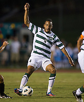 The number 5 ranked Charlotte 49ers play the University of South Carolina Gamecocks at Transamerica field in Charlotte.  Charlotte won 3-2 in the second overtime.  Biko Bradnock-Brennan (4)