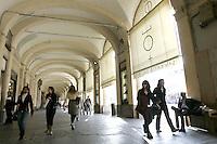 I portici nel centro di Torino.<br /> Arcaded sidewalks in downtown Turin.<br /> UPDATE IMAGES PRESS/Riccardo De Luca