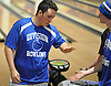 Thomas Colamartino of Levittown Division, left, gets congratulated by teammate Robert Bradley after rolling a strike in the third game of a Nassau County boys bowling match against Bellmore-Merrick at Levittown Lanes on Thursday, Nov. 30, 2017. Colamartino bowled a 584 series, including a 242 in his first game, to help his team to an 8-3 win.