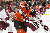 Mike Seward (Harvard - 18), Ben Foster (Princeton - 22), Max Everson (Harvard - 44) - The Harvard University Crimson defeated the visiting Princeton University Tigers 5-0 on Harvard's senior night on Saturday, February 28, 2015, at Bright-Landry Hockey Center in Boston, Massachusetts.