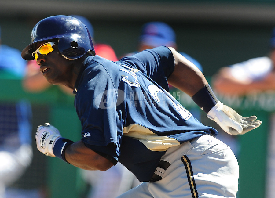 Mar 4, 2008; Mesa, AZ, USA; Milwaukee Brewers outfielder Mike Cameron against the Chicago Cubs at HoHoKam Park. Mandatory Credit: Mark J. Rebilas-US PRESSWIRE