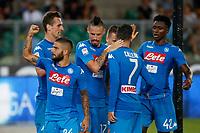 Arkadiusz Milik celebrates after scoring gol Arkadiusz Milik  during the  italian serie A soccer match,between Hellas Verona and SSC Napoli  at  the Bentegodi    stadium in Verona  Italy , August 19, 2017