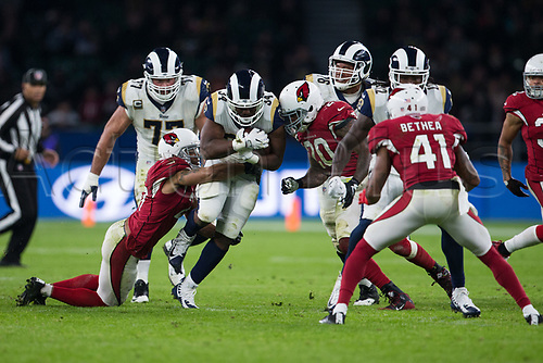 22nd October 2017, Twickenham, London, England; NFL International Series, Game Three, Arizona Cardinals versus LA Rams; LA Rams running back Malcolm Brown is tackled by Arizona Cardinals linebacker Deone Bucannon