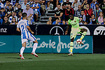 CD Leganes's Juan Francisco Moreno and FC Barcelona's Ousmane Dembele during La Liga match between CD Leganes and FC Barcelona at Butarque Stadium in Madrid, Spain. September 26, 2018. (ALTERPHOTOS/A. Perez Meca)