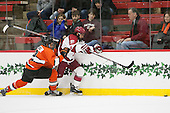 Marlon Sabo (Princeton - 2), Luke Esposito (Harvard - 9) - The Harvard University Crimson defeated the visiting Princeton University Tigers 5-0 on Harvard's senior night on Saturday, February 28, 2015, at Bright-Landry Hockey Center in Boston, Massachusetts.