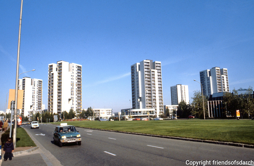 Paris: Creteil. New town southeast of Paris. Highway, apartment buildings. 1970's.