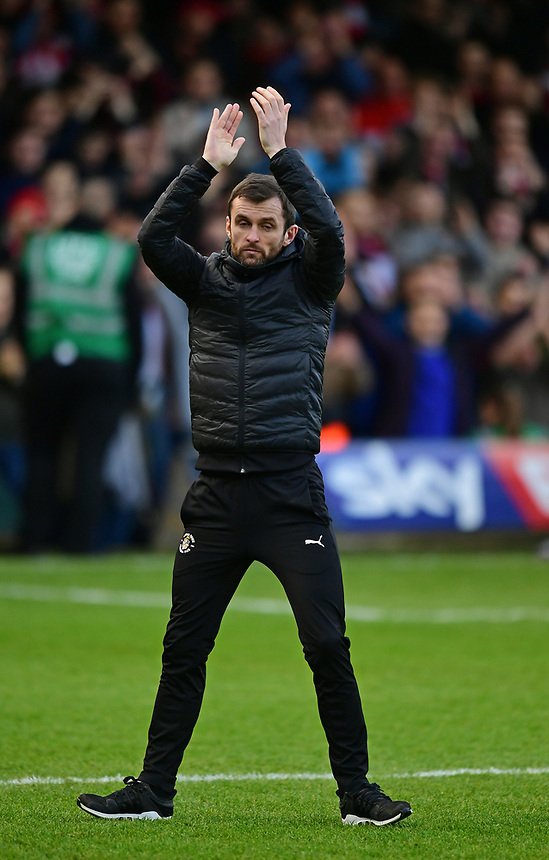 Luton Town manager Nathan Jones during the pre-match warm-up<br /> <br /> Photographer Chris Vaughan/CameraSport<br /> <br /> The EFL Sky Bet League Two - Luton Town v Lincoln City - Monday 1st January 2018 - Kenilworth Road - Luton<br /> <br /> World Copyright &copy; 2018 CameraSport. All rights reserved. 43 Linden Ave. Countesthorpe. Leicester. England. LE8 5PG - Tel: +44 (0) 116 277 4147 - admin@camerasport.com - www.camerasport.com