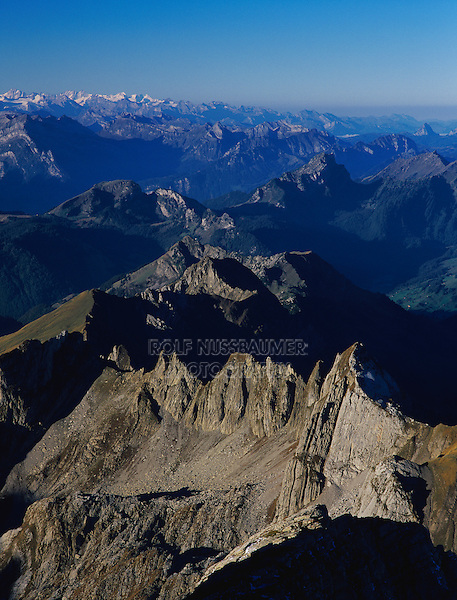 Swiss Alps view from the Saentis peak, Appenzell, Switzerland, Europe