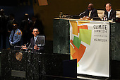 President Barack Obama, who is in New York City for the 69th Session of the United Nations General Assembly, delivers remarks at the Climate Summit at the United Nations on September 23, 2014 in New York City. World leaders, activists and protesters have converged on New York City for the annual UN event that brings together the global leaders for a week of meetings and conferences. This year 's General Assembly has highlighted the problem of global warming and how countries need to strive to  reduce greenhouse gas emissions. <br /> Credit: Spencer Platt / Pool via CNP