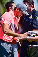 Returning 2016 champion Jason Day (AUS) signs autographs  during the practice round of the World Golf Championships, Dell Technologies Match Play, Austin Country Club, Austin, Texas, USA. 3/21/2017.<br /> Picture: Golffile | Ken Murray<br /> <br /> <br /> All photo usage must carry mandatory copyright credit (&copy; Golffile | Ken Murray)