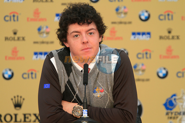 Rory McIlroy in the interview room during Practice Day 1 at the 2010 Ryder Cup at the Celtic Manor Twenty Ten Course, Newport, Wales, 28th September 2010..(Picture Eoin Clarke/www.golffile.ie)
