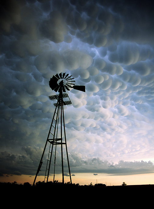 A dramatic display of mammatus clouds bubble downward after the passage of severe thunderstorms near Woodward Oklahoma in June.
