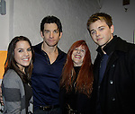 General Hospital's Kristen Alderson and Chad Duell  and Jane Elissa pose with Andy Karl (star of Rocky) as they came into New York City to see Broadway's Rocky on April 25, 2014 starring Andy Karl  and then went backstage to meet the actors. Photos were taken backstage and on stage. (Photo by Sue Coflin/Max Photos)