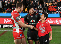 Issac Luke and family.<br /> NRL Premiership rugby league. Vodafone Warriors v St George Illawarra. Mt Smart Stadium, Auckland, New Zealand. Friday 20 April 2018. &copy; Copyright photo: Andrew Cornaga / www.Photosport.nz