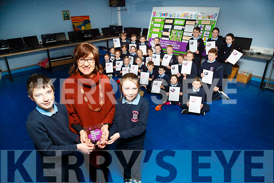 Joan Holland with her 4th Class pupils front Tadgh Costello and Ella Fortune of Ardfert NS as they presented their project at the RDS primary Science Fair 2018 in Limerick last Friday school on Monday they presented their project at Young Science in Limerick last Friday