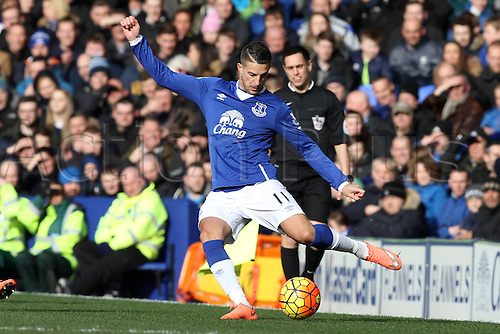 05.03.2016. Goodison Park, Liverpool, England. Barclays Premier League. Everton versus West Ham. Kevin Mirallas of Everton in action.