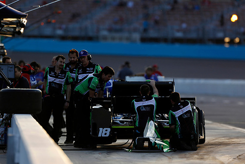 26-27 February, 2016, Avondale, Arizona USA<br /> 18 Conor Daly's crew working on the number 18<br /> ©2016, Phillip Abbott<br /> LAT Photo USA
