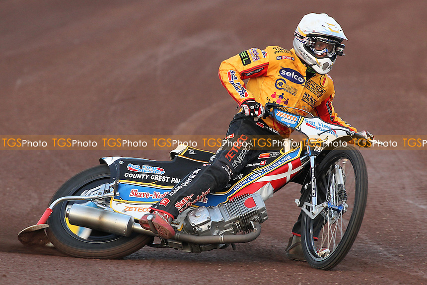Bjarne Pedersen of Birmingham - Lakeside Hammers vs Birmingham Brummies - Sky Sports Elite League Speedway at Arena Essex Raceway, Purfleet - 10/08/12 - MANDATORY CREDIT: Gavin Ellis/TGSPHOTO - Self billing applies where appropriate - 0845 094 6026 - contact@tgsphoto.co.uk - NO UNPAID USE.