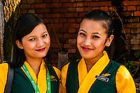 Yeti Airlines flight attendants, Kathmandu airport, Kathmandu, Nepal.