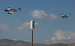 Matt Beaubien (81) leads George Ford (43) in a Sport Class heat race during the National Championship Air Races in Reno, Nevada on Friday, September 15, 2017.