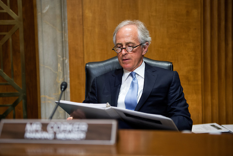"UNITED STATES - APRIL 8: Sen. Bob Corker, R-Tenn., ranking member of the Senate Foreign Relations Committee, waits for the start of a hearing in Dirksen Building titled ""National Security and Foreign Policy Priorities in the FY2015 International Affairs Budget,"" which featured testimony by Secretary of State John Kerry. (Photo By Tom Williams/CQ Roll Call)"