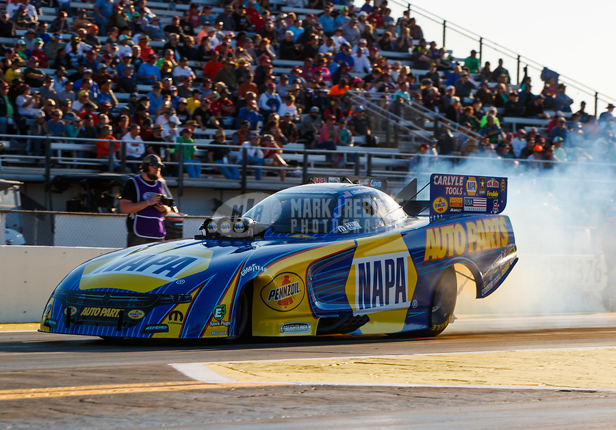 Mar 17, 2017; Gainesville , FL, USA; NHRA funny car driver Ron Capps during qualifying for the Gatornationals at Gainesville Raceway. Mandatory Credit: Mark J. Rebilas-USA TODAY Sports