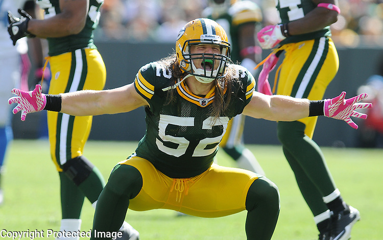 Green Bay Packers linebacker Clay Matthews celebrates his sack of Detroit Lions quarterback Shaun Hill during the second quarter of the game at Lambeau Field in Green Bay, Wis., on Oct. 3, 2010.