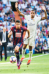 Real Madrid's player Danilo Luiz Da Silva and Eibar FC's player Ander Capa during a match of La Liga Santander at Santiago Bernabeu Stadium in Madrid. October 02, Spain. 2016. (ALTERPHOTOS/BorjaB.Hojas)