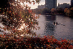 Boston, Men rowing double racing shell, sunrise, Charles River, Boston University in the background, Massachusetts, New England, USA, North America,