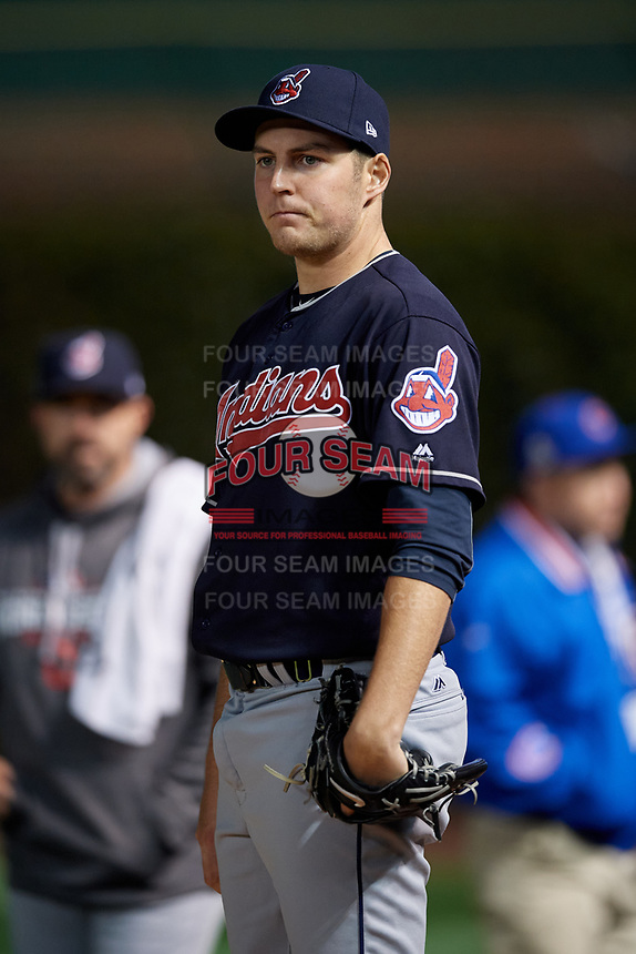 Cleveland Indians pitcher Trevor Bauer (47) warms up in the bullpen during Game 5 of the Major League Baseball World Series against the Chicago Cubs on October 30, 2016 at Wrigley Field in Chicago, Illinois.  (Mike Janes/Four Seam Images)