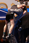 CLEVELAND, OH - MARCH 10: Brock Rathbun and his coach Eric Keller, of Wartburg, celebrate his win in the in the 133 weight class during the Division III Men's Wrestling Championship held at the Cleveland Public Auditorium on March 10, 2018 in Cleveland, Ohio. (Photo by Jay LaPrete/NCAA Photos via Getty Images)
