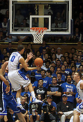 "Freshman Austin Rivers makes a layup. Duke has five freshman on the team this year. Duke men's basketball had an opening scrimmage game as a part of the ""Countdown to Craziness"" event at Cameron Indoor Stadium Friday Oct. 14, 2011.  Photo by Al Drago..."