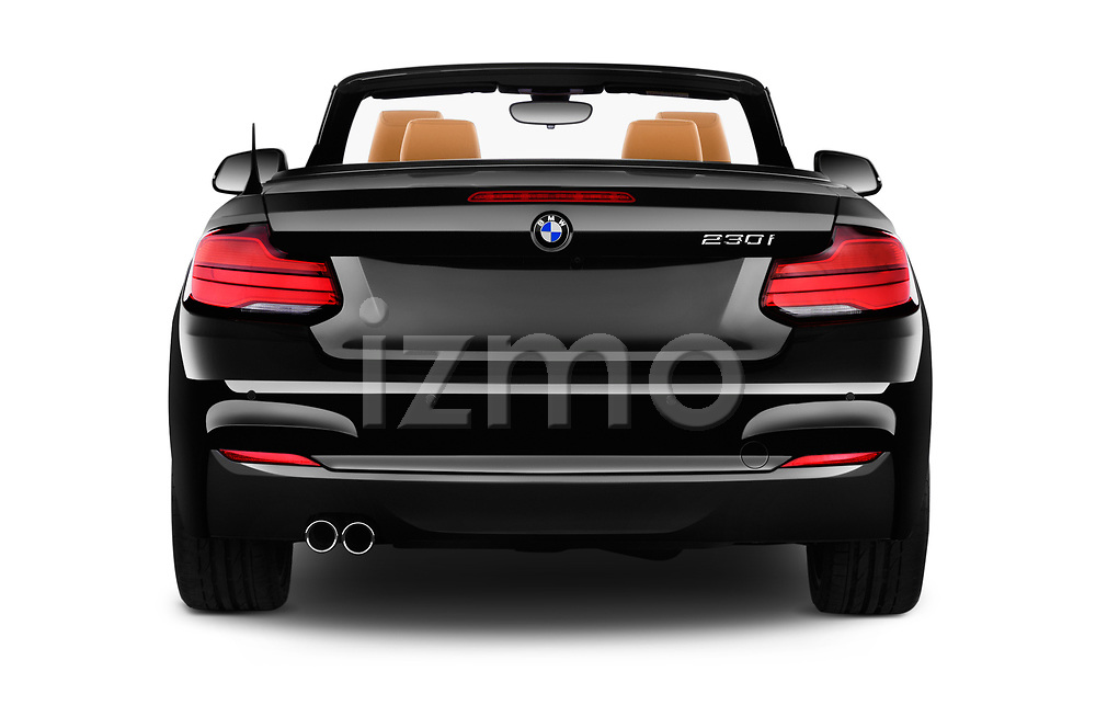Straight rear view of a 2018 BMW 2 Series M-Sport 2 Door Convertible stock images
