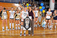 13 November 2010:  FIU senior Ines Medved (11) (pictured with Volleyball Head Coach Danijela Tomic and various of her teammates) is honored after the FIU Golden Panthers defeated the South Alabama Jaguars, 3-0 (25-12, 25-12, 25-20), at U.S Century Bank Arena in Miami, Florida.