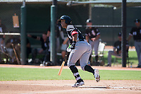 Chicago White Sox shortstop Luis Curbelo (21) starts down the first base line during an Instructional League game against the Kansas City Royals at Camelback Ranch on September 25, 2018 in Glendale, Arizona. (Zachary Lucy/Four Seam Images)