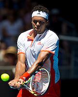 JO-WILFRED TSONGA (FRA) against KEI NISHIKORI (JPN ) in the fourth round of the Men's Singles. Kei Nishikori  beat Jo-Wilfred Tsonga 2-6 6-2 6-1 3-6 6-3..23/01/2012, 23rd January 2012, 23.01.2012 - Day 8..The Australian Open, Melbourne Park, Melbourne,Victoria, Australia.@AMN IMAGES, Frey, Advantage Media Network, 30, Cleveland Street, London, W1T 4JD .Tel - +44 208 947 0100..email - mfrey@advantagemedianet.com..www.amnimages.photoshelter.com.