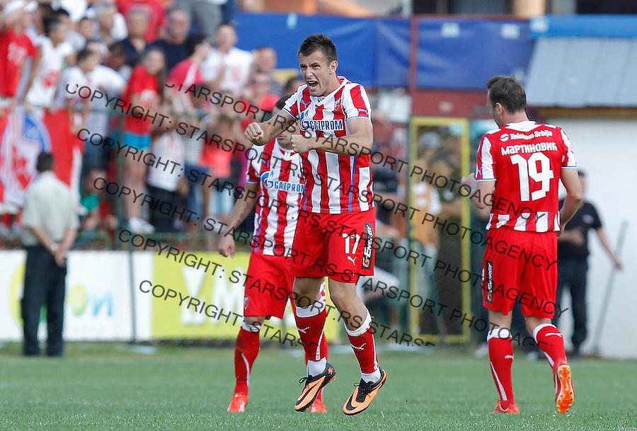 Fudbal Super liga season 2013-2014<br /> Javor v Crvena Zvezda <br /> Filip Kasalica reacts<br /> Ivanjica, 11.08.2013.<br /> foto: Srdjan Stevanovic/Starsportphoto &copy;