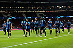 Club Brugge's players greet fans during UEFA Champions League match between Atletico de Madrid and Club Brugge at Wanda Metropolitano Stadium in Madrid, Spain. October 03, 2018. (ALTERPHOTOS/A. Perez Meca)
