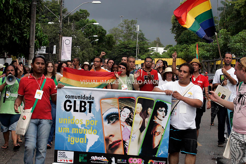 Supporters take part in an protest gay pride march calling for equal rights for lesbian, gay, bisexual and transgender people at Worldocial Forum on 30 January, 2009 in Belém northern Brazil